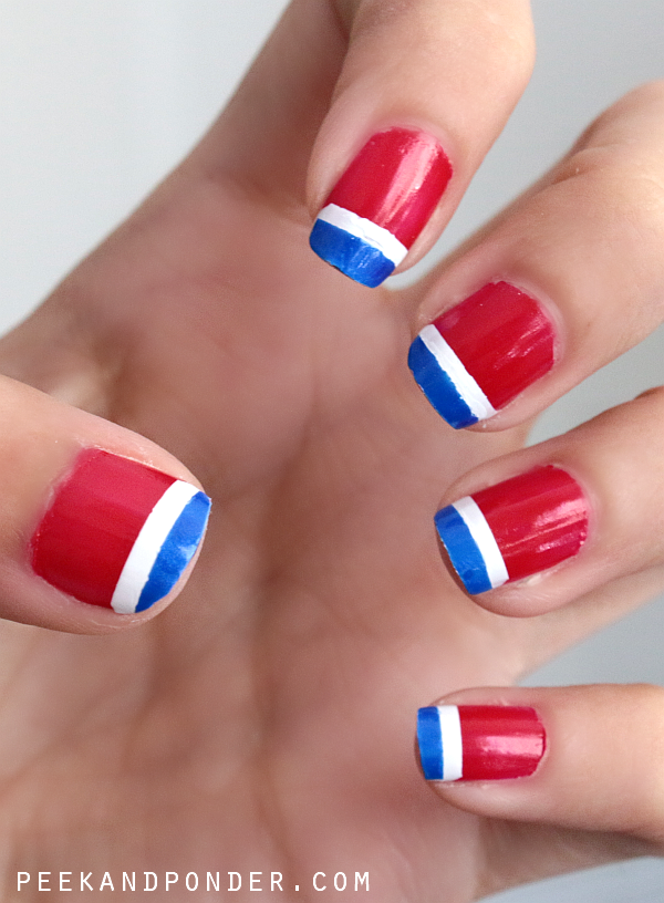 Patriotic Stripes Patriotic Stripe Red White and Blue Manicure How-To: Apply a base coat like JINsoon Power Coat Apply JINsoon Cool Blue on the entire nail bed Apply JINsoon Kookie White to the middle of each fingernail, leaving two stripes of blue.
